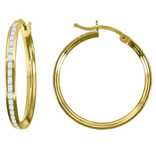 14kt Yellow Gold Simulated Diamonds Hoop Earrings 23 mm