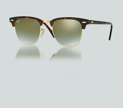 Authentic Ray Ban RB 3016 CLUBMASTER 990/9J SHINY RED/HAVANA Sunglasses