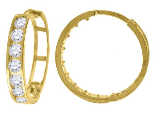 10kt Yellow Gold Simulated Diamonds Hoop Earrings 19.2 mm