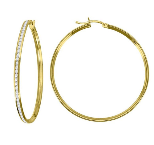 14kt Yellow Gold Simulated Diamonds Hoop Earrings 2 mm