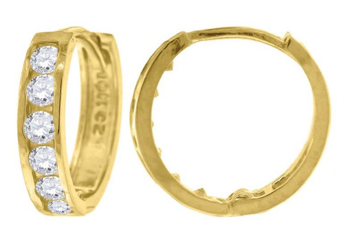 10kt Yellow Gold Simulated Diamonds Hoop Earrings 10.3 mm