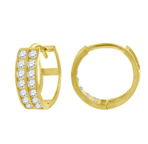 14kt Yellow Gold Simulated Diamonds Hoop Earrings 10.1 mm