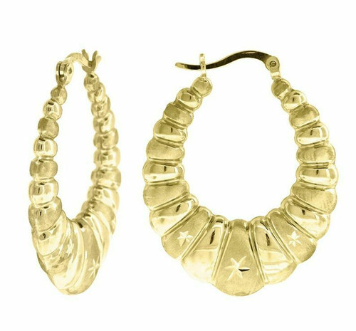 10kt Yellow Gold Fashion Hoop Earrings 33.8 mm