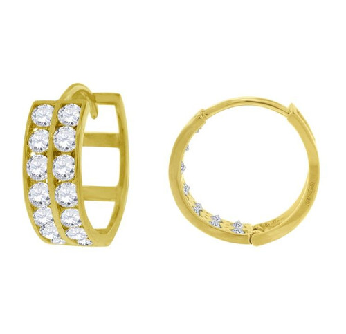 14kt Yellow Gold Simulated Diamonds Hoop Earrings 12.1 mm