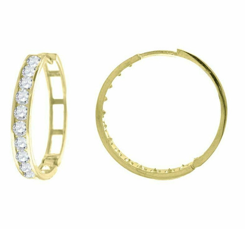 10kt Yellow Gold Simulated Diamonds Hoop Earrings 24.1 mm