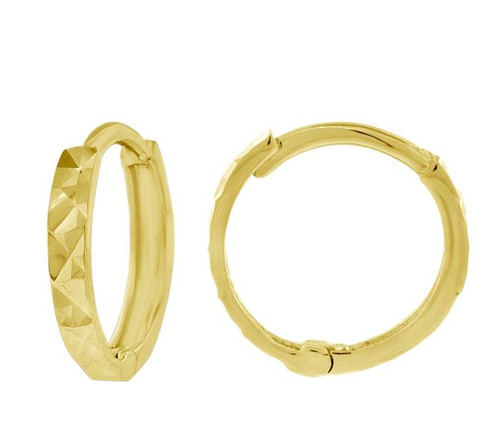 14kt Yellow Gold Endless Hoop Earrings Diamond Cut 10.7 mm