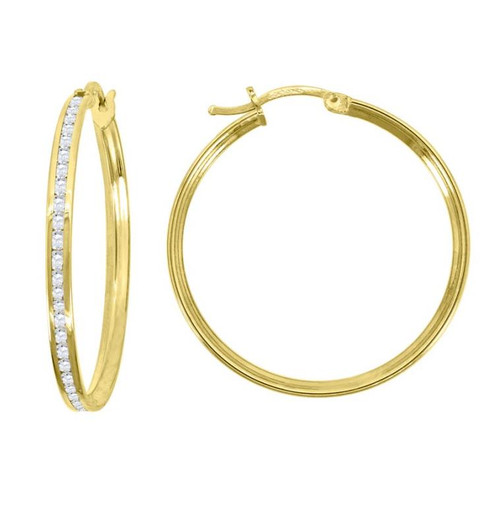 14kt Yellow Gold Simulated Diamonds Hoop Earrings 29 mm