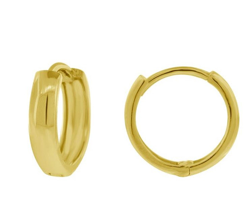 14kt Yellow Gold Endless Hoop Earrings Round Cut 11.4 mm