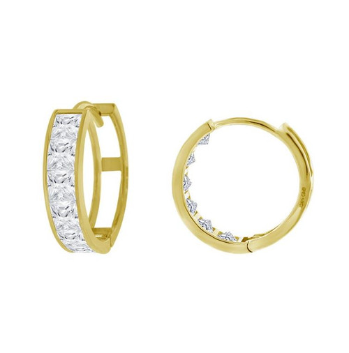 14kt Yellow Gold Simulated Diamonds Hoop Earrings 14.6 mm