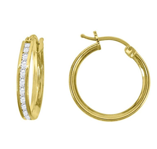 14kt Yellow Gold Simulated Diamonds Hoop Earrings 16 mm