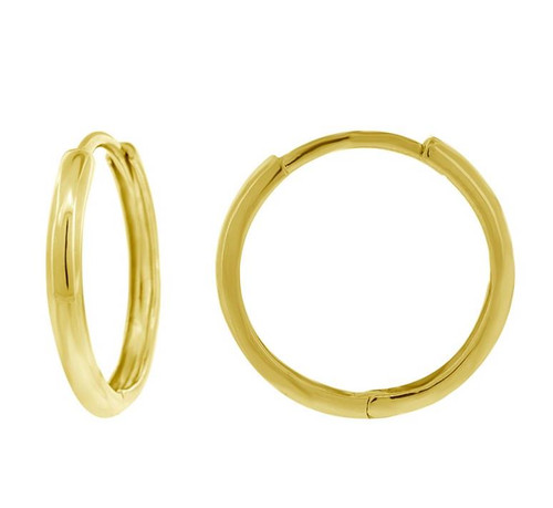 14kt Yellow Gold Endless Hoop Earrings Round Cut 16.6 mm