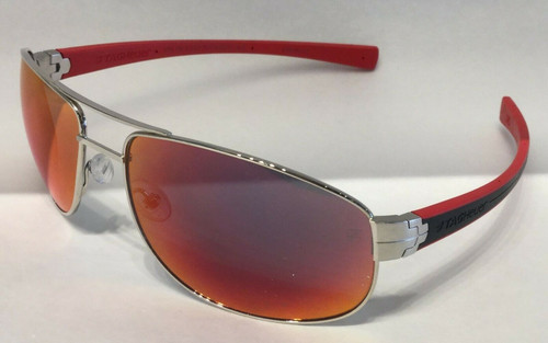 Authentic Tag Heuer TH0252 S 102 Silver/Black/Red Mirrored Sunglasses