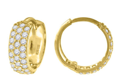 10kt Yellow Gold Simulated Diamonds Hoop Earrings 14.6 mm