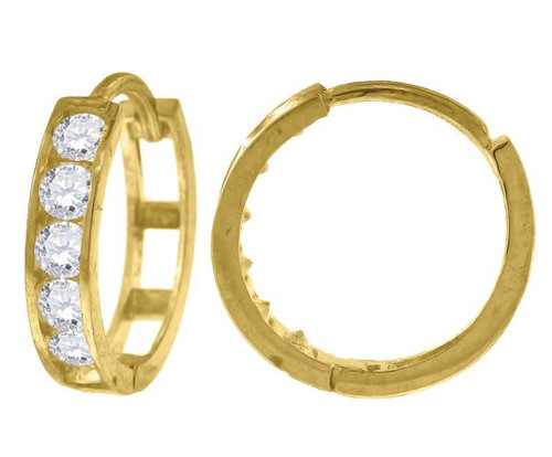 10kt Yellow Gold Simulated Diamonds Hoop Earrings 13.5 mm