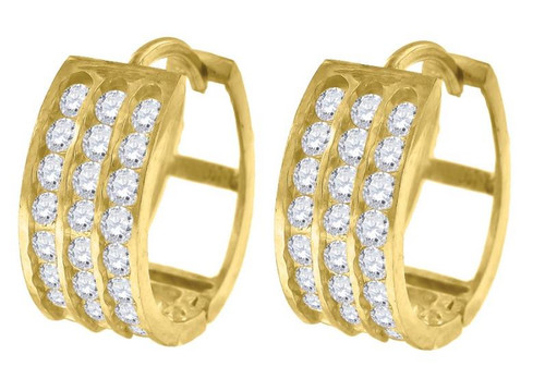 10kt Yellow Gold Simulated Diamonds Hoop Earrings 15.3 mm
