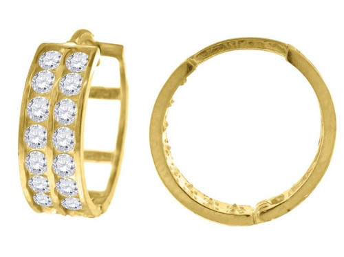 10kt Yellow Gold Simulated Diamonds Hoop Earrings 15.2 mm