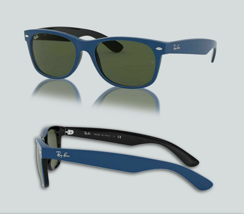 Authentic Ray Ban 0RB2132 New Wayfarer 646331 Top Rubber Blue Sunglasses