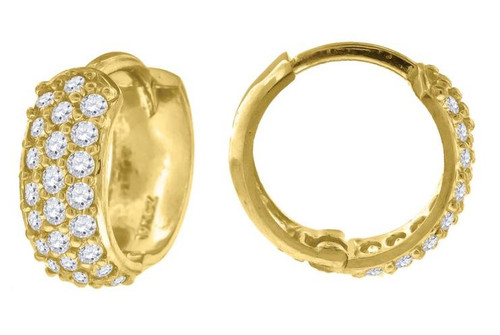 10kt Yellow Gold Simulated Diamonds Hoop Earrings 12.6 mm