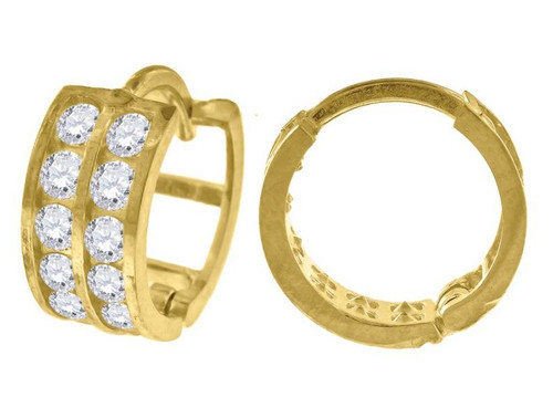 10kt Yellow Gold Simulated Diamonds Hoop Earrings 11.5 mm