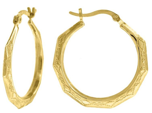 10kt Yellow Gold Fashion Hoop Earrings Diamond Cut 27.5 mm