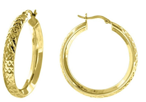 10kt Yellow Gold Hoop Earrings Diamond Cut 33.3 mm