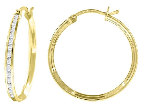 10kt Yellow Gold Simulated Diamonds Hoop Earrings