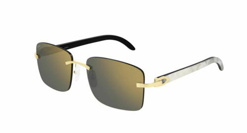 Authentic Cartier CT 0030RS 001 Gold/Gray Gold Sunglasses