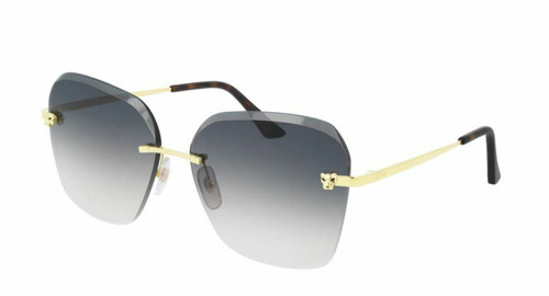 Authentic Cartier CT 0147S 002 Gold/Brown Gradient/Mirrored Sunglasses