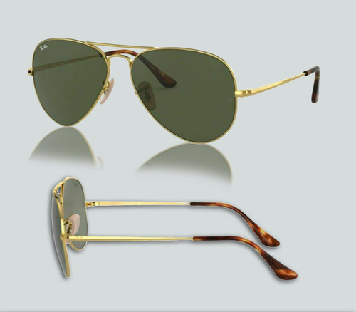 Authentic Ray Ban 0RB3689 Aviator Metal II 914731 Gold/Green Sunglasses