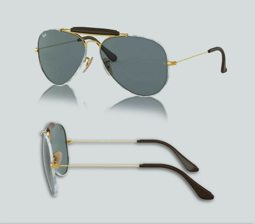 Authentic Ray Ban 0RB3422Q Aviator Craft 9193R5 Gold/Blue Jeans Sunglasses
