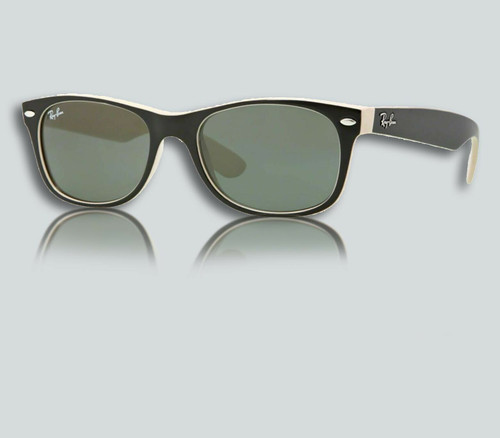 Authentic Ray Ban RB 2132 New Wayfarer 875 Top Black on Beige Sunglasses
