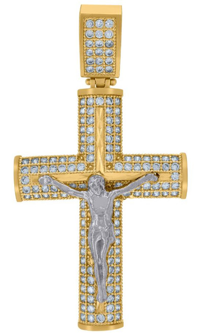 10kt Gold Two-tone SD Mens Cross Crucifix Religious Charm Pendant