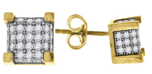 10kt Gold Two-tone Simulated Diamonds Mens Square Push Back Studs