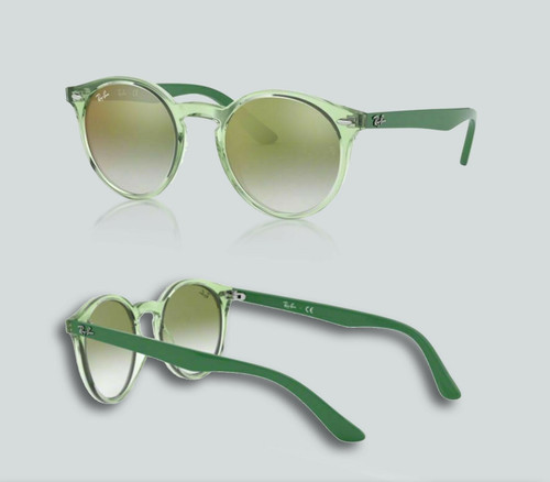 Authentic Ray Ban 0RJ9064S 7053W0 Transparent Green Sunglasses