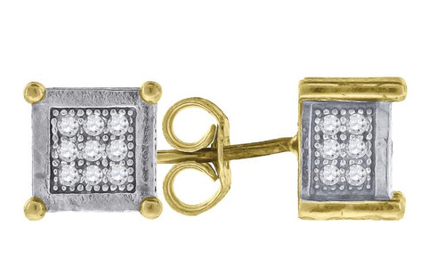 10kt Gold Two-tone Simulated Diamonds Mens Womens Square Push Back Studs