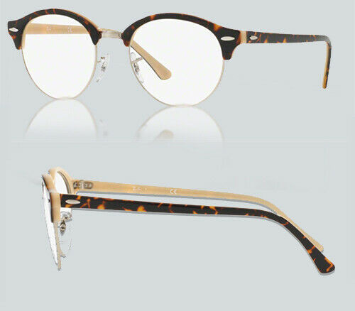 Authentic Ray Ban 0RX4246V CLUBROUND 5239 TOP HAVANA ON OPAL PEACH Eyeglasses