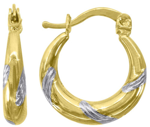 10kt Gold Two-tone  Womens Polished Finish Twisted Hoop Earrings