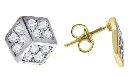 10kt Gold Two-tone Simulated Diamonds Mens Womens Cube Push Back Studs