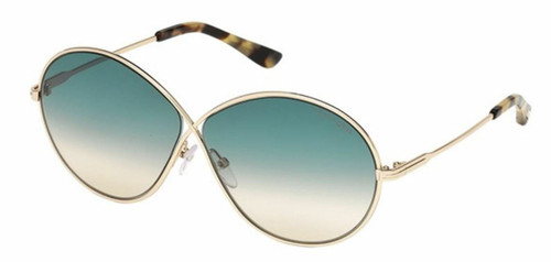 Authentic Tom Ford FT0564 Rania 02 28P Shiny Rose Gold/Gradient Green Sunglasses