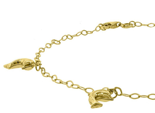 10kt Yellow Gold Womens Polished Finish Jumping Dolphin Anklet Size: 10 inches