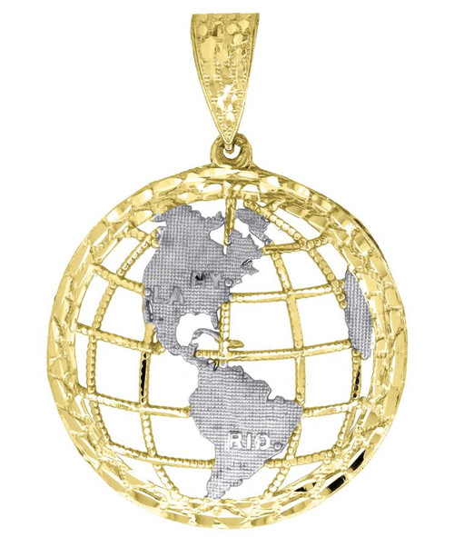 10kt Gold Two-tone Simulated Diamonds Mens Globe Earth World Charm Pendant