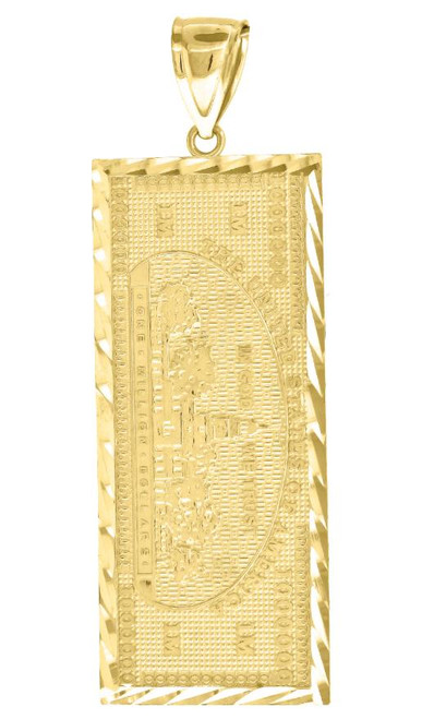 10kt Yellow Gold Diamond Cut Mens Currency Charm Pendant