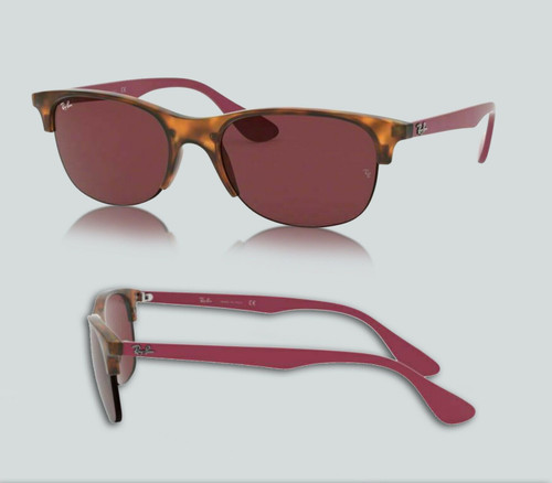 Authentic Ray Ban 0RB4419 642075 Rubber Red Havana/Dark Violet Sunglasses