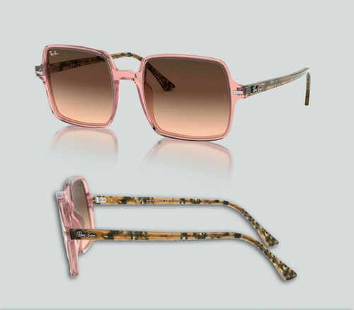 Authentic Ray Ban 0RB1973 Square II 1282A5 Transparent Pink Sunglasses