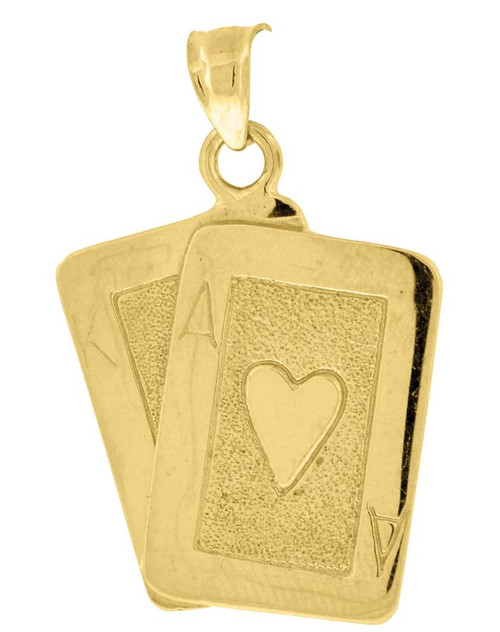 10kt Yellow Gold Polished Textured Mens Playing Cards Ace Gambling Charm Pendant