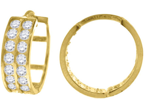 10kt Yellow Gold Womens SD Polished Finish Double Row Hoop Earrings