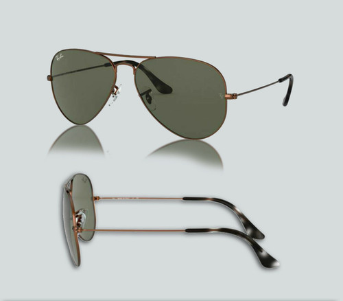 Authentic Ray Ban 0RB3025 Aviator Large Metal 918931 Sand Trans Brown Sunglasses