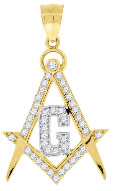 10kt Two-tone Gold SD Polished Unisex Masonic Religious Charm Pendant