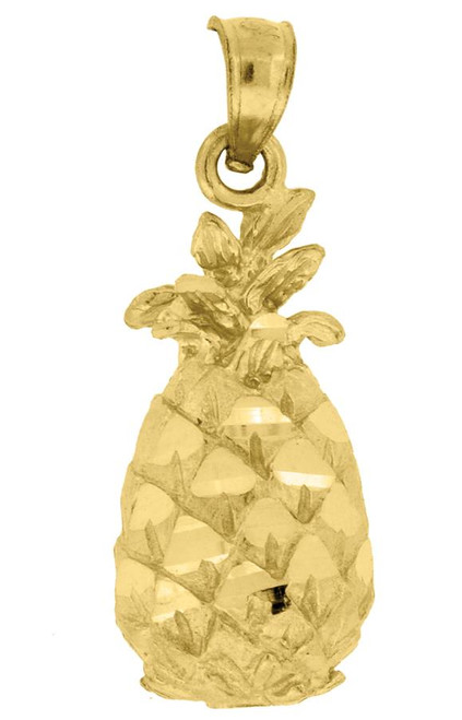 10kt Yellow Gold Diamond Cut Unisex Pineapple Food Charm Pendant