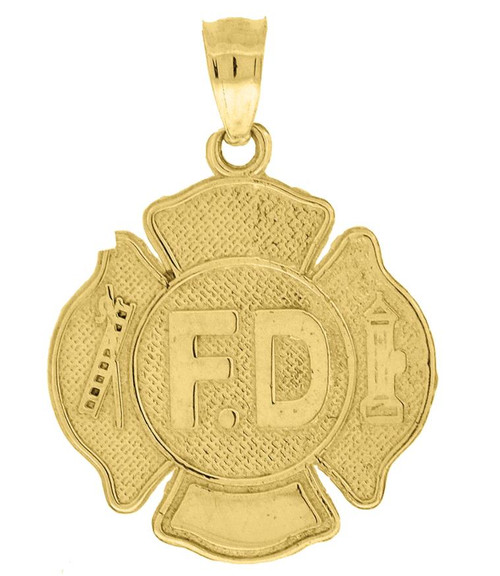 10kt Yellow Gold Textured Unisex Fire Department Badge Charm Pendant